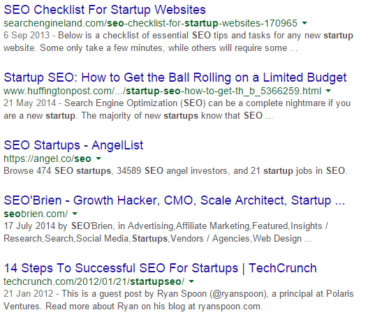 Google Startup SEO results
