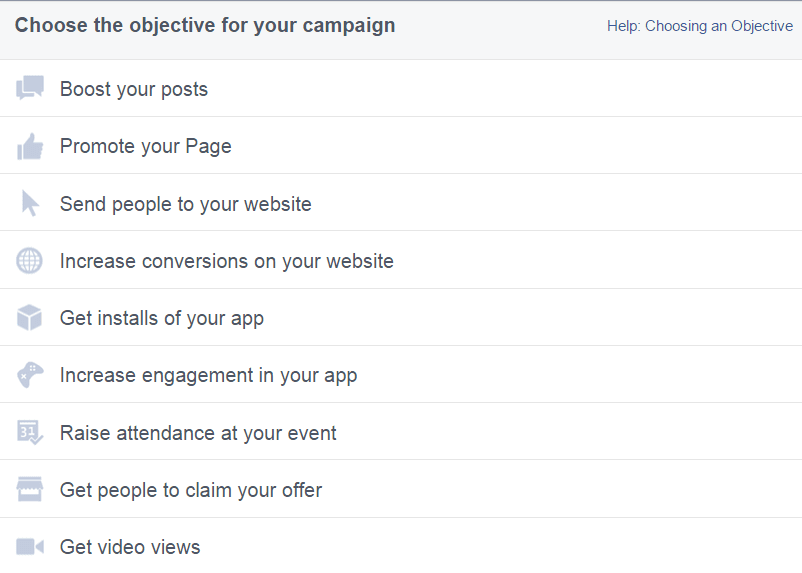 Choice of facebook campaigns