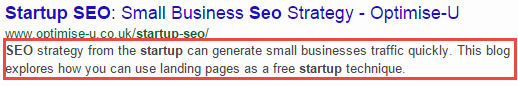 The startup SEO page meta description