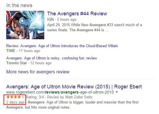 Example of a rich snippet review