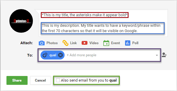 write an SEO friendly G+ post