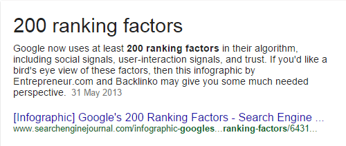 "Google has ""over 200 ranking factors"""