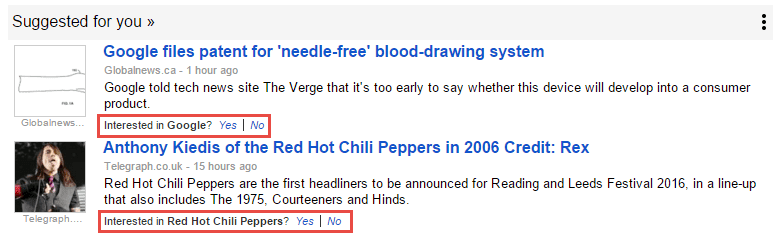 YouTube interests appearing in Google News