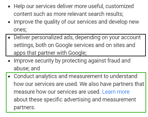 Google's (lack of) privicy settings