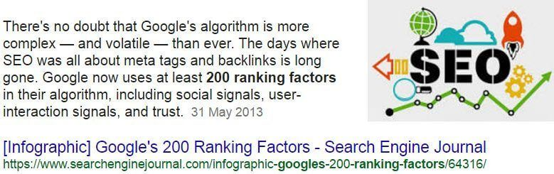 How many ranking factors Google use