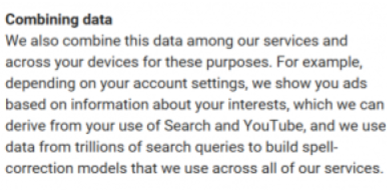 Google have finally admitted to combining data